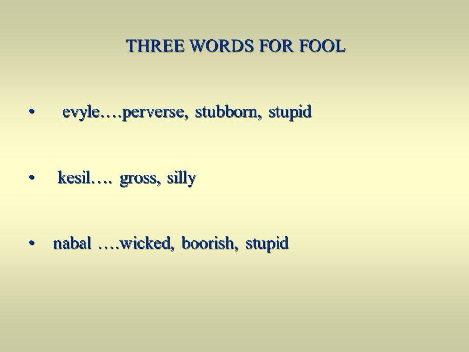 THREE WORDS FOR FOOL evyle….perverse, stubborn, stupid.