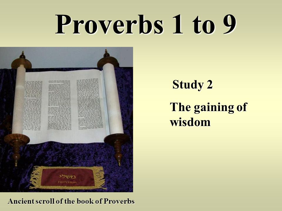 Proverbs 1 to 9 The gaining of wisdom Study 2