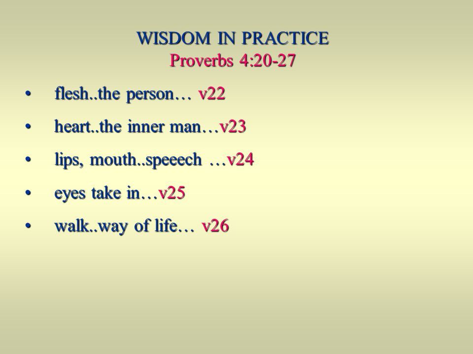 WISDOM IN PRACTICE Proverbs 4:20-27