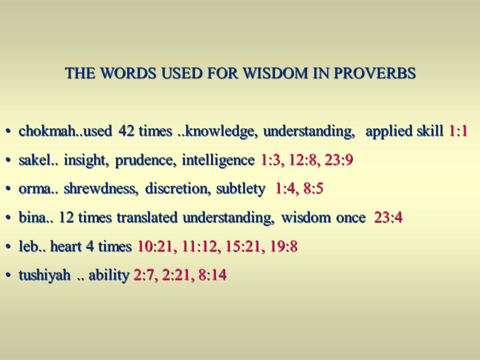 THE WORDS USED FOR WISDOM IN PROVERBS