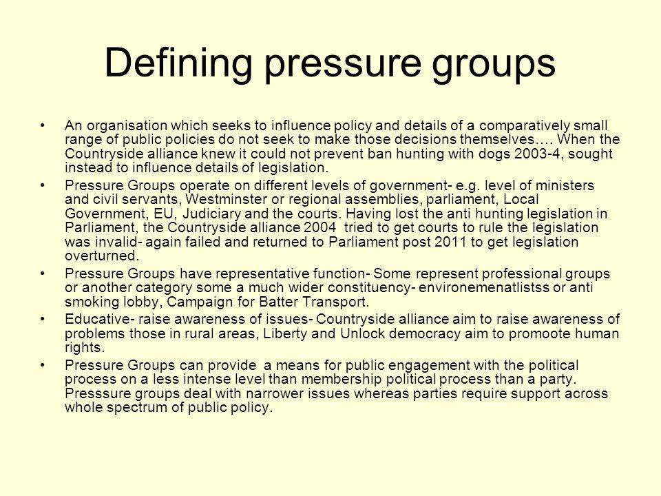 Defining pressure groups