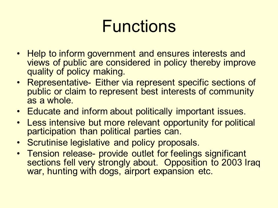 Functions Help to inform government and ensures interests and views of public are considered in policy thereby improve quality of policy making.