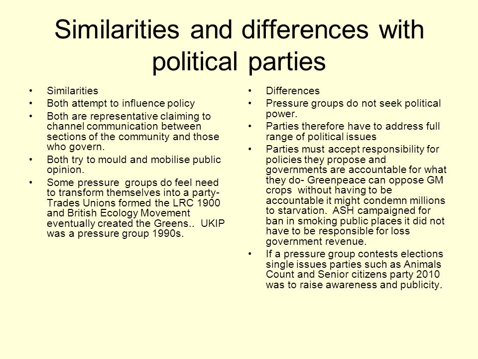 Similarities and differences with political parties