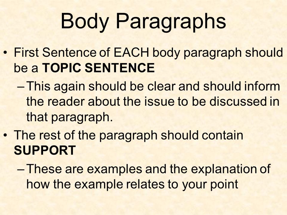 Body Paragraphs First Sentence of EACH body paragraph should be a TOPIC SENTENCE.
