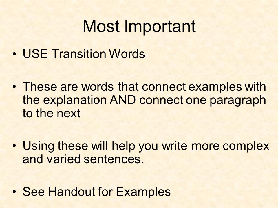 Most Important USE Transition Words