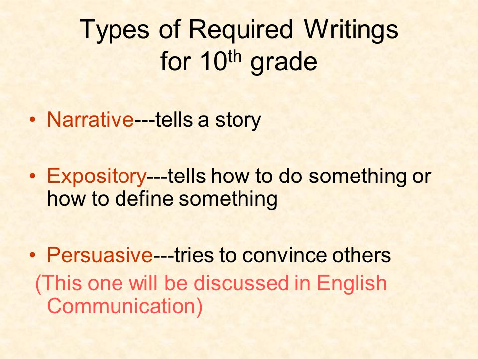 Types of Required Writings for 10th grade