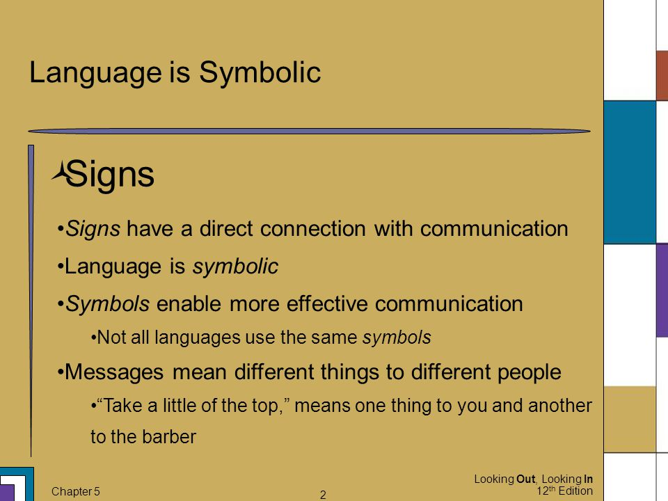 Signs Language is Symbolic