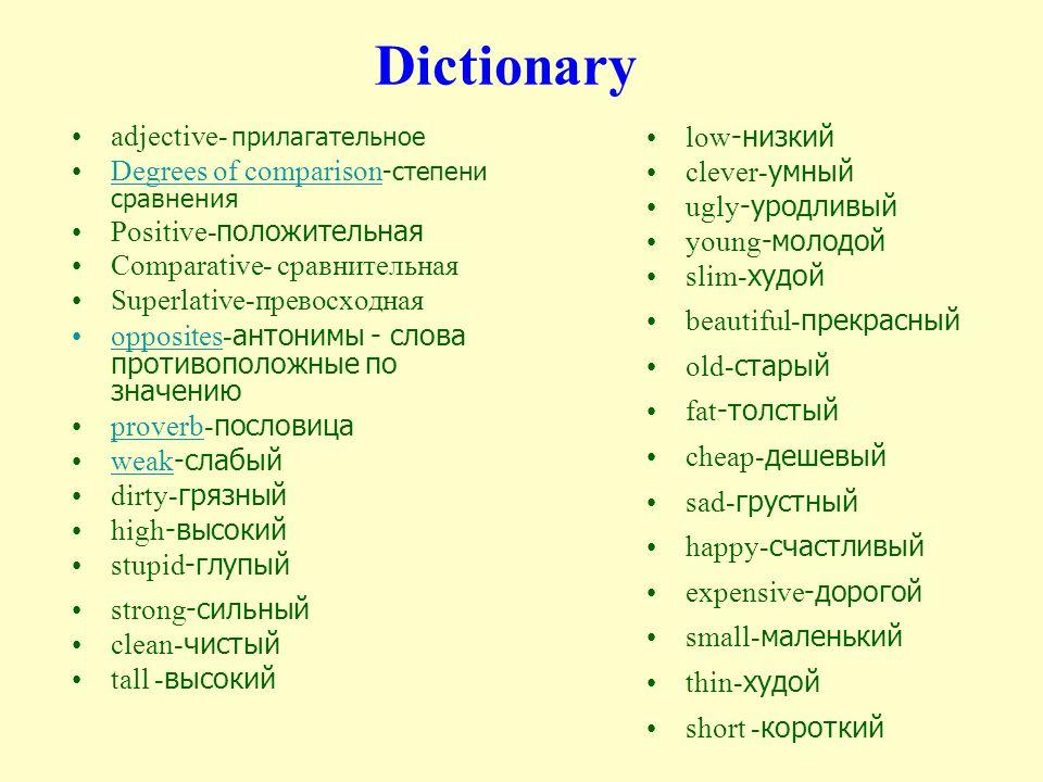 Dictionary adjective- прилагательное