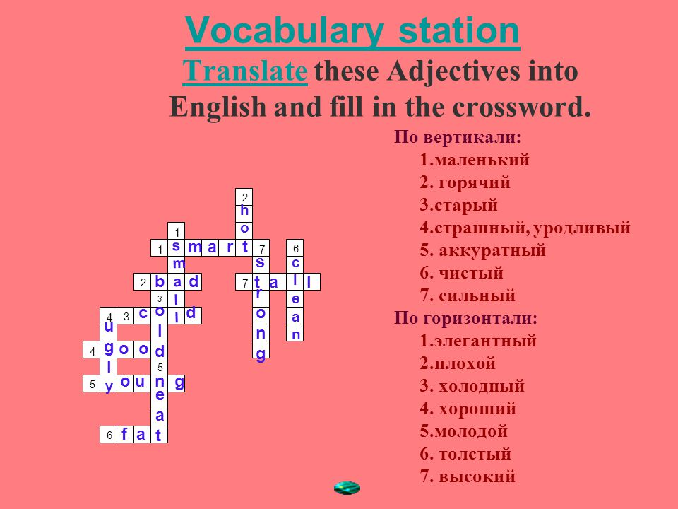 Vocabulary station Translate these Adjectives into English and fill in the crossword.