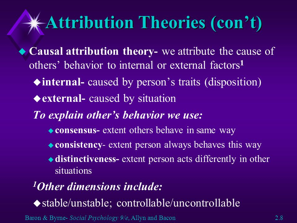 Attribution Theories (con't)