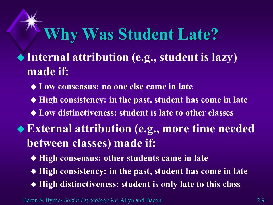 Why Was Student Late Internal attribution (e.g., student is lazy) made if: Low consensus: no one else came in late.