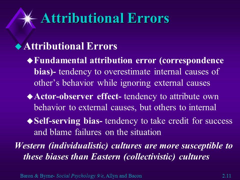 Attributional Errors Attributional Errors