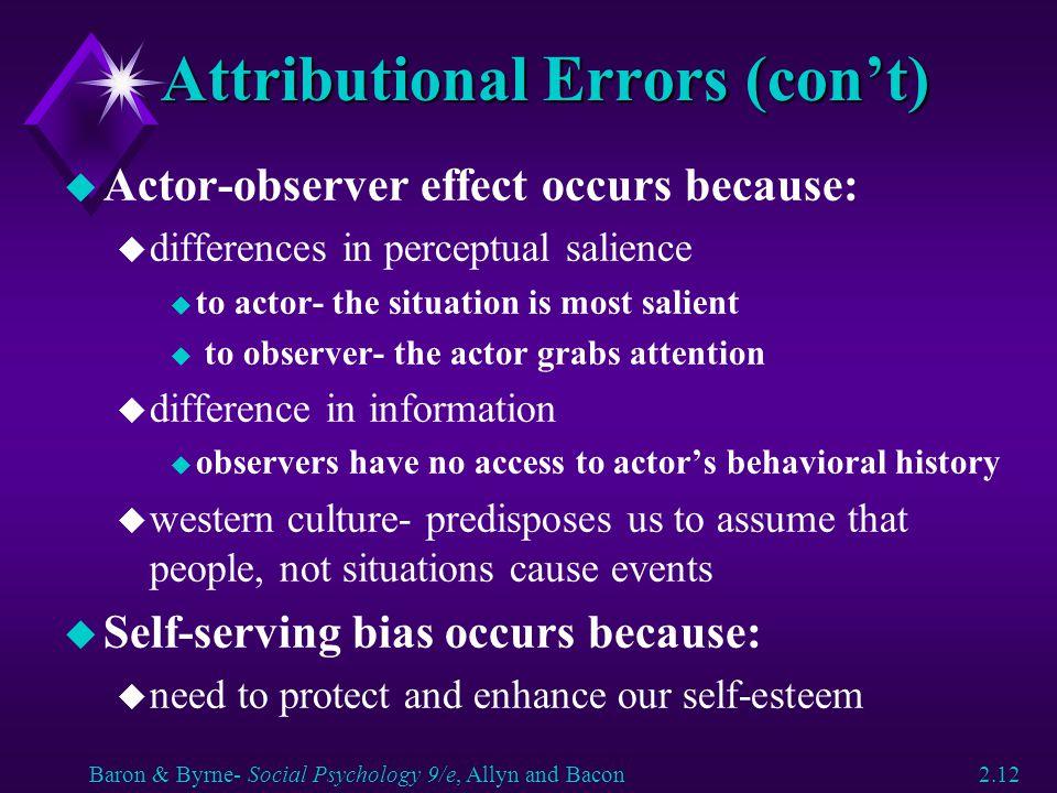 Attributional Errors (con't)
