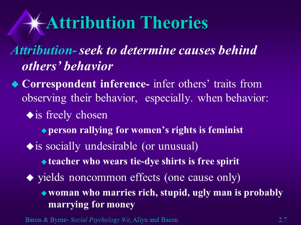 Attribution Theories Attribution- seek to determine causes behind others' behavior.