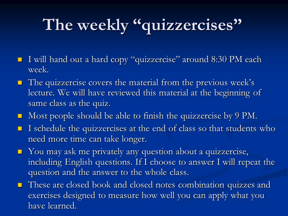 The weekly quizzercises