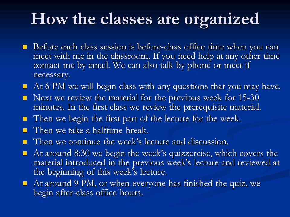 How the classes are organized