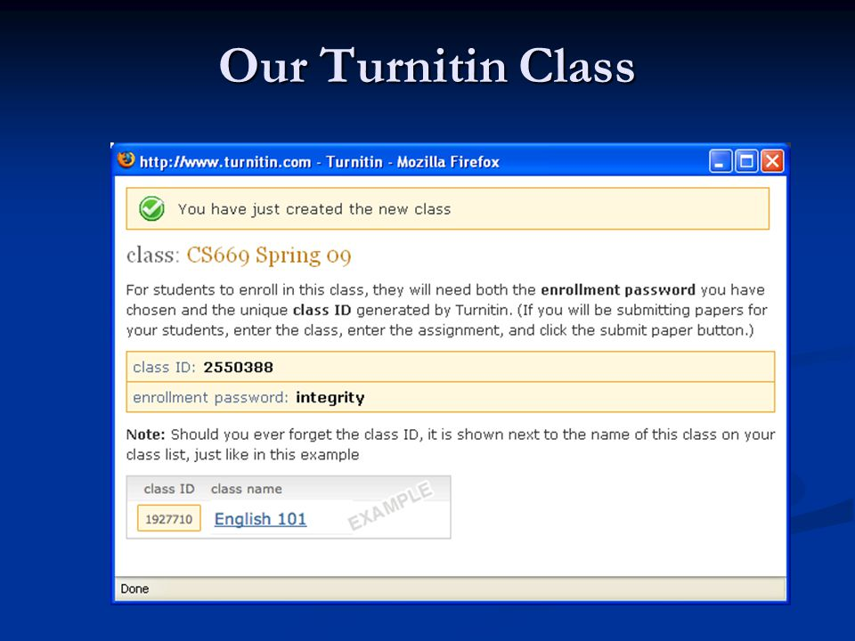 Our Turnitin Class