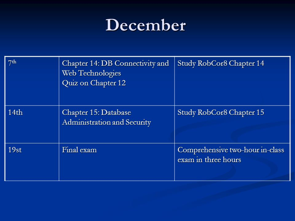 December 7th Chapter 14: DB Connectivity and Web Technologies