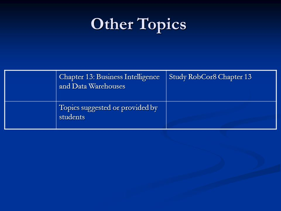 Other Topics Chapter 13: Business Intelligence and Data Warehouses