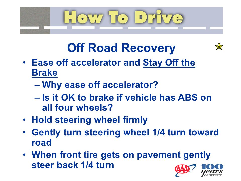 Off Road Recovery Ease off accelerator and Stay Off the Brake