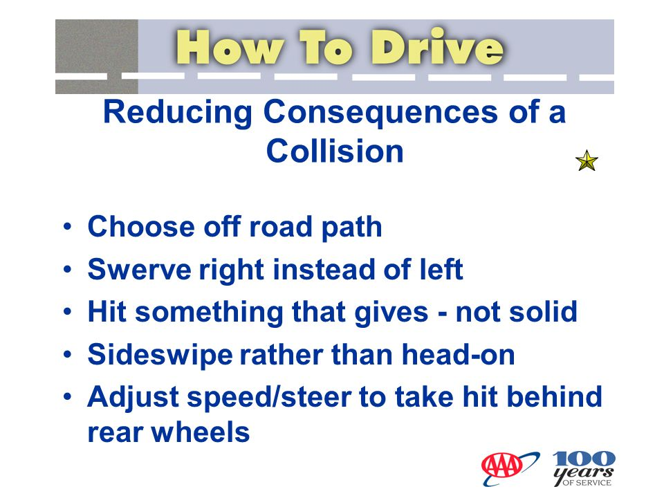 Reducing Consequences of a Collision