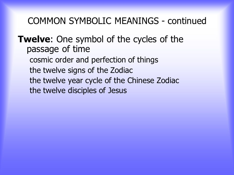 COMMON SYMBOLIC MEANINGS - continued