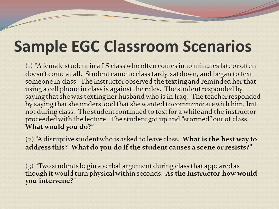 Sample EGC Classroom Scenarios