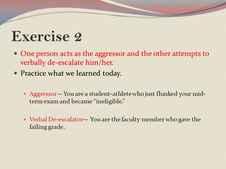 Exercise 2 One person acts as the aggressor and the other attempts to verbally de-escalate him/her.