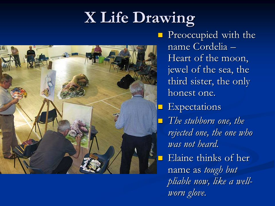 X Life Drawing Preoccupied with the name Cordelia – Heart of the moon, jewel of the sea, the third sister, the only honest one.