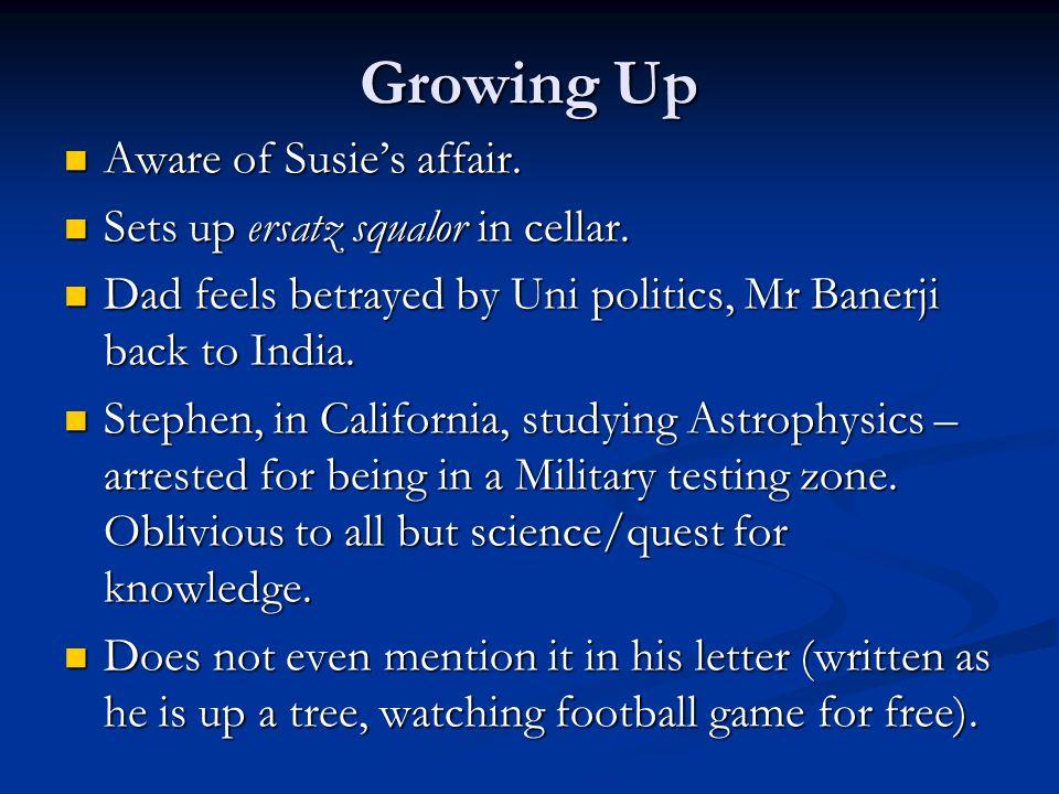 Growing Up Aware of Susie's affair. Sets up ersatz squalor in cellar.