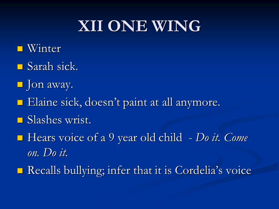 XII ONE WING Winter Sarah sick. Jon away.