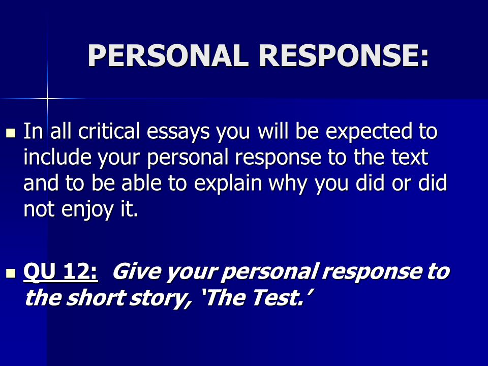 PERSONAL RESPONSE: