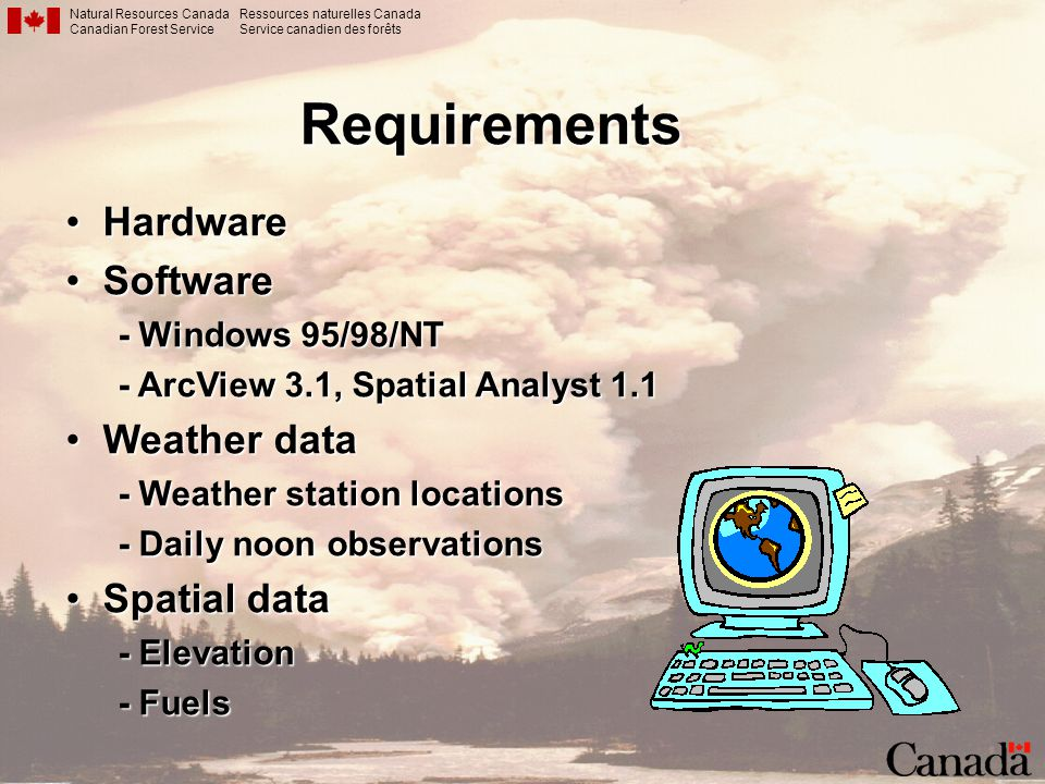Requirements Hardware Software Weather data Spatial data