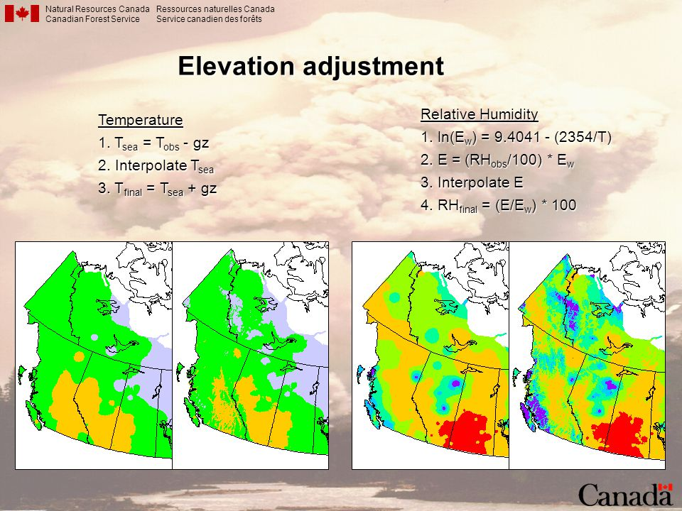 Elevation adjustment Relative Humidity Temperature