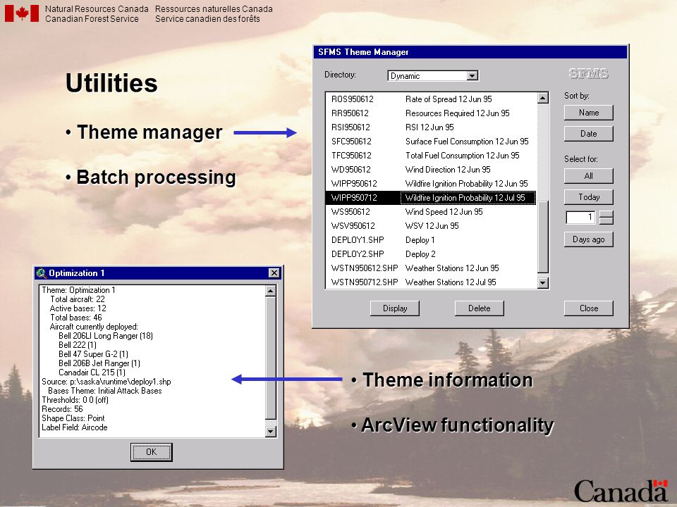 Utilities Theme manager Batch processing Theme information