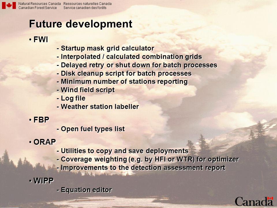 Future development FWI FBP ORAP WIPP - Startup mask grid calculator