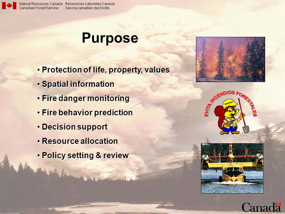 Purpose Protection of life, property, values Spatial information