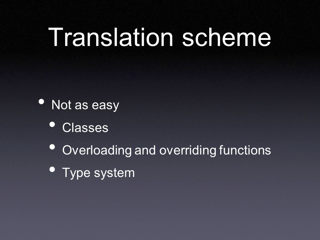 Translation scheme Not as easy Classes