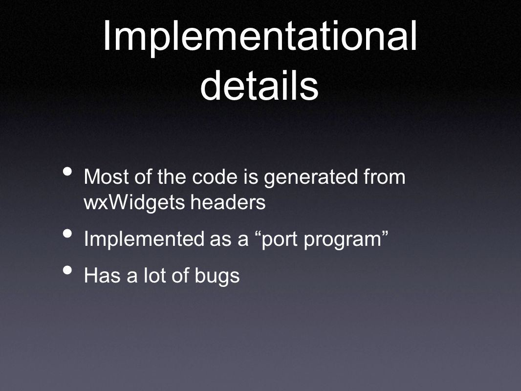 Implementational details
