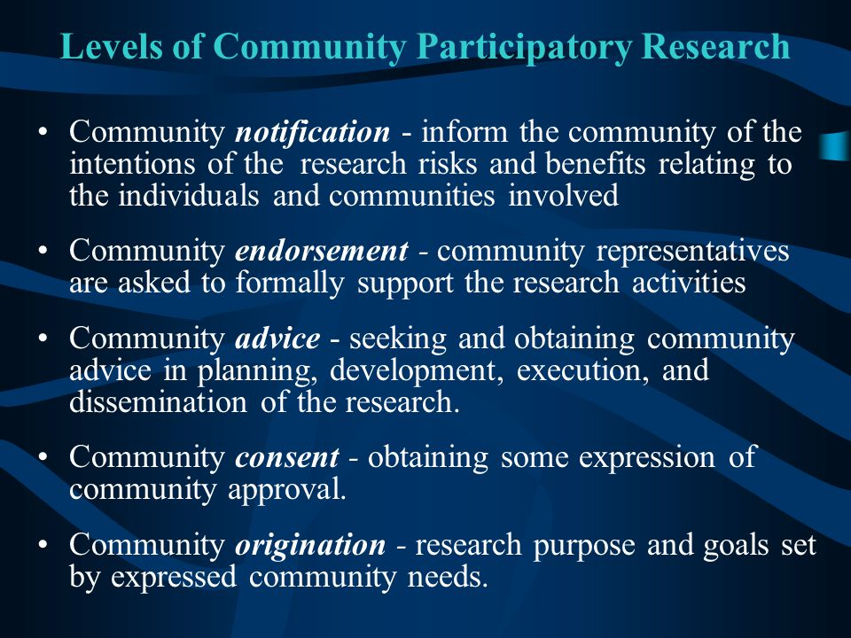 Levels of Community Participatory Research