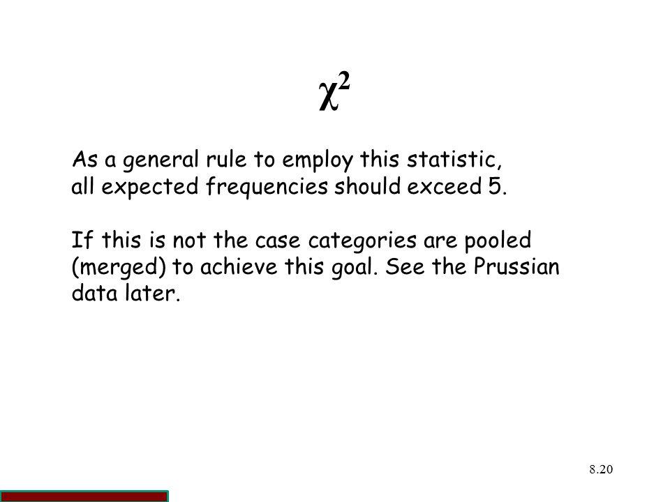 χ2 As a general rule to employ this statistic,