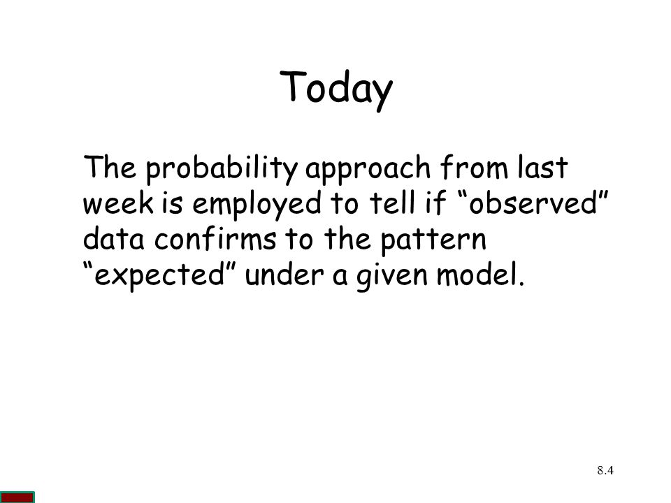 Today The probability approach from last week is employed to tell if observed data confirms to the pattern expected under a given model.