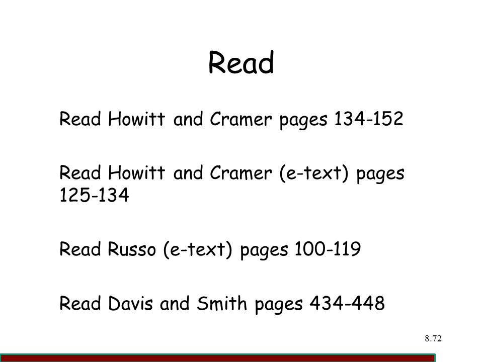 Read Read Howitt and Cramer pages 134-152
