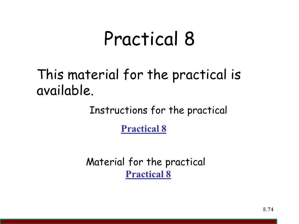 Instructions for the practical