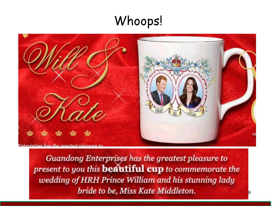 Whoops! Kate Middleton marries Prince Harry on souvenir mug
