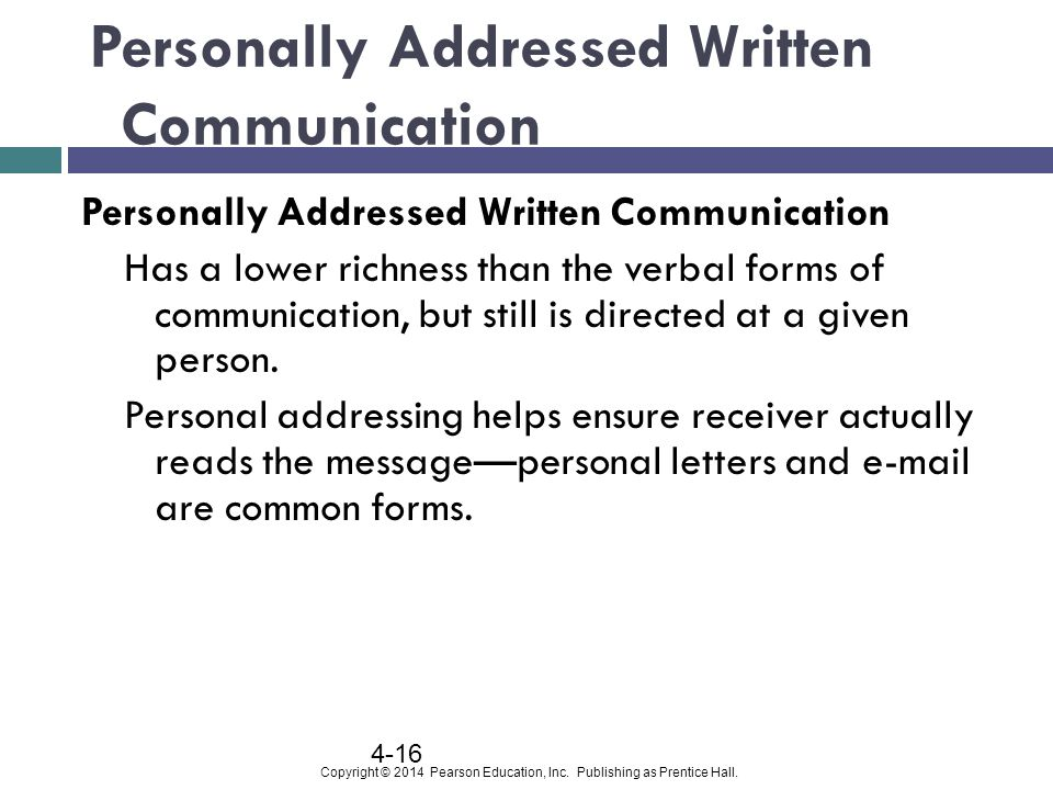 Personally Addressed Written Communication