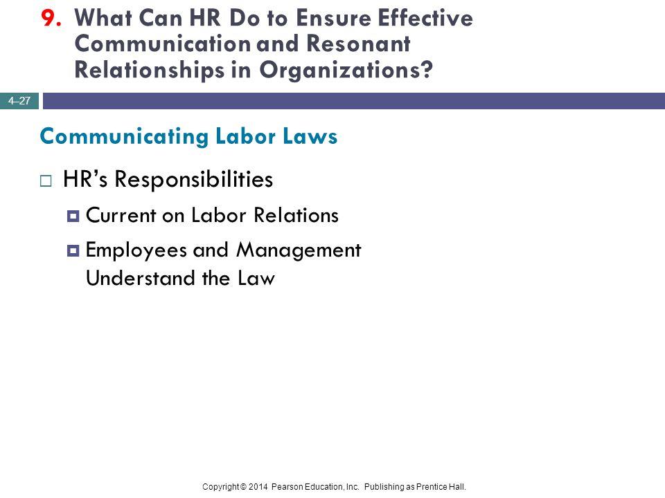HR's Responsibilities