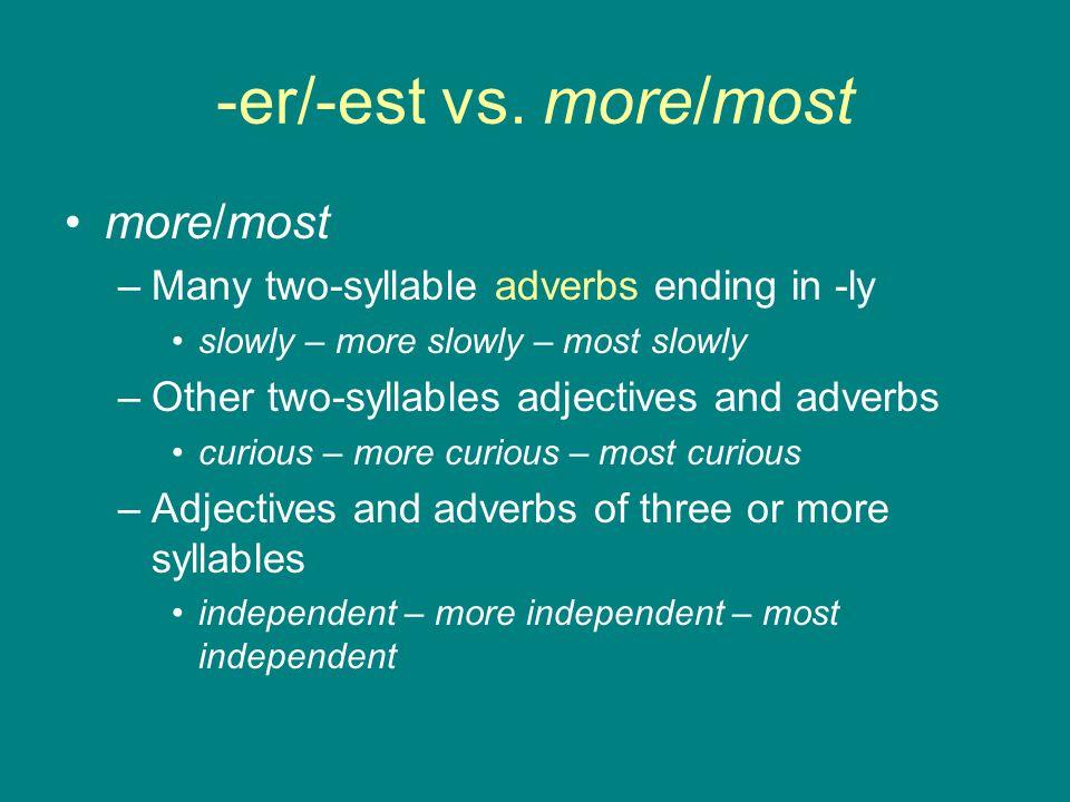 -er/-est vs. more/most more/most