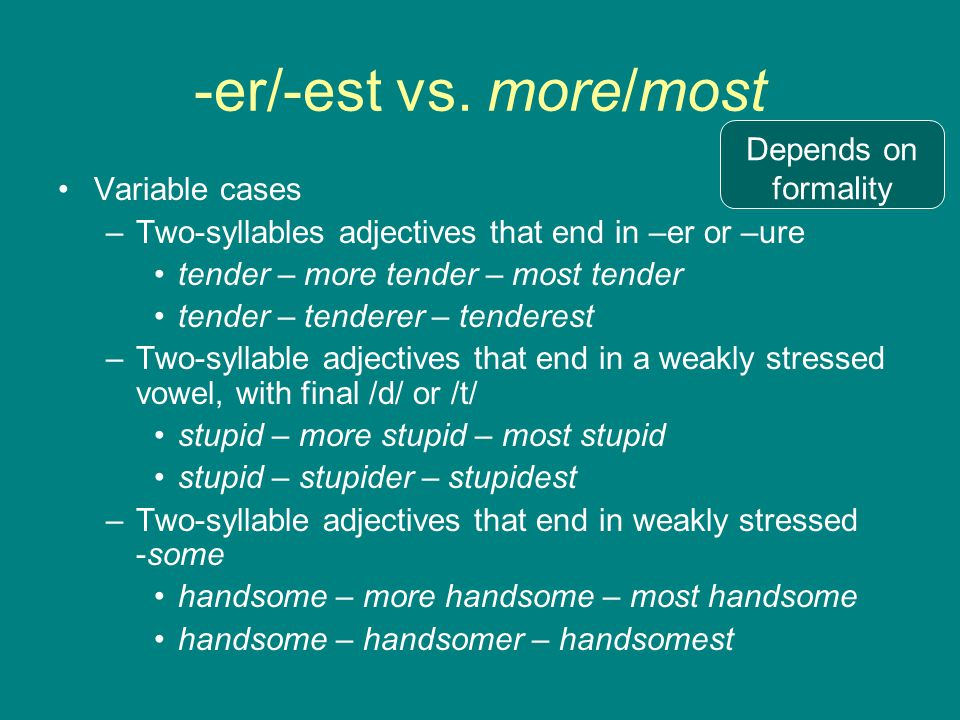 -er/-est vs. more/most Depends on formality Variable cases