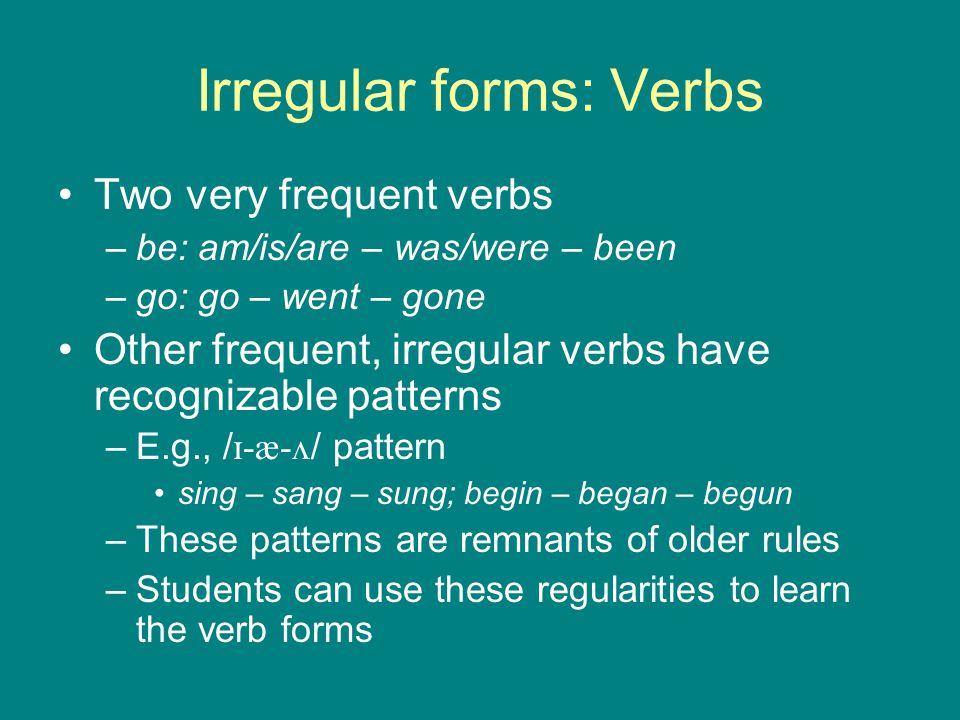 Irregular forms: Verbs